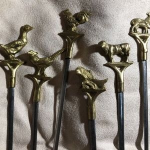 Steel Shish Kabob BBQ Skewers Brass Animal Tops